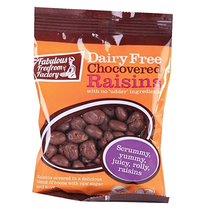 Fabulous Fudge Factory   Dairy Free Chocolate Raisins   12 x 75G