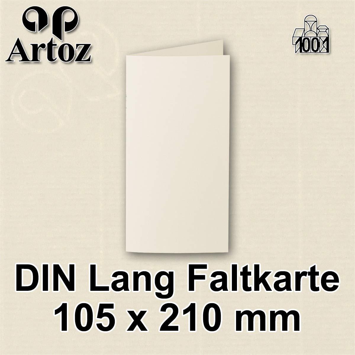 Creme Blanko Doppelkarte mit 220 g//m/² edle Egoutteur-Rippung ARTOZ 50x DIN Lang Faltkarten Chamois gerippt 210 x 105 mm Klappkarten