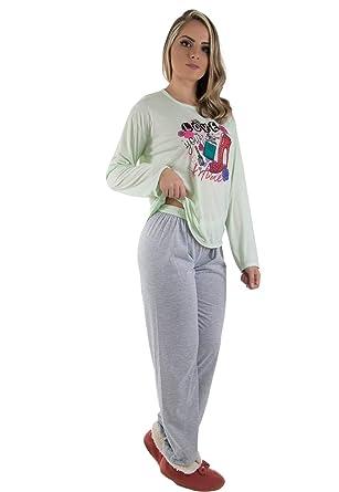 dd2d20187 Novo Pijama Longo Adulto Feminino VerdeManga Comprida- Calça Mescla (P)