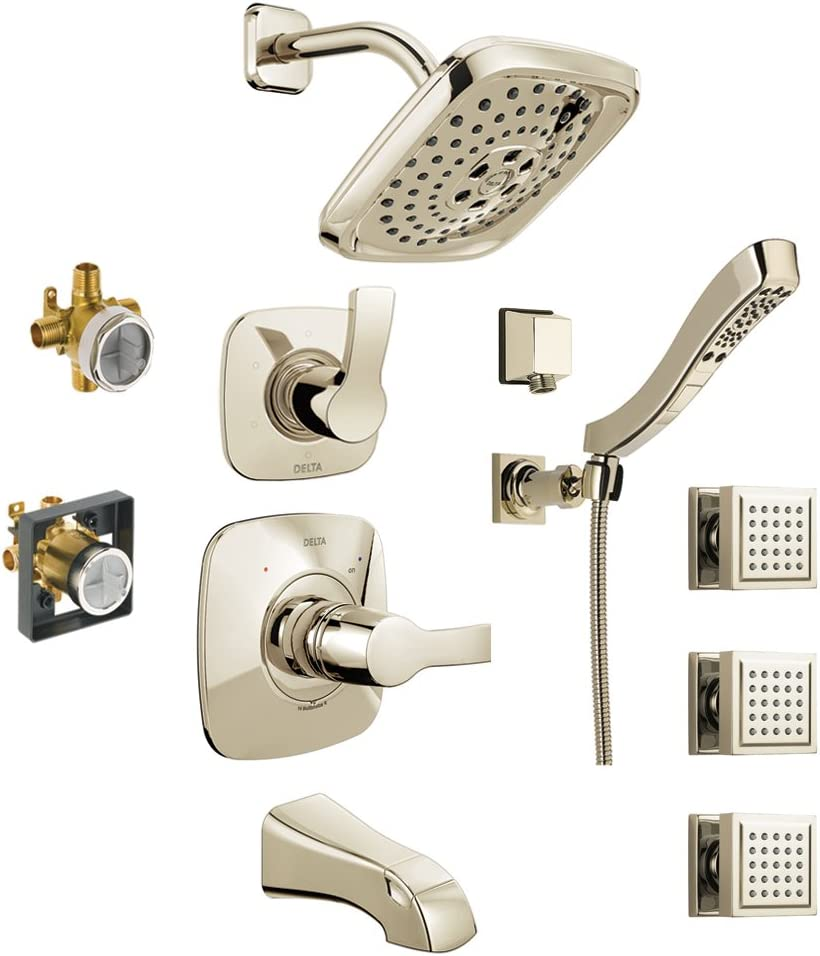 3 Body Sprays Delta KTS14452-DRH55B15-PN Tesla 14 Series Tub//Shower Kit with Hand Shower and Rough-in Polished Nickel