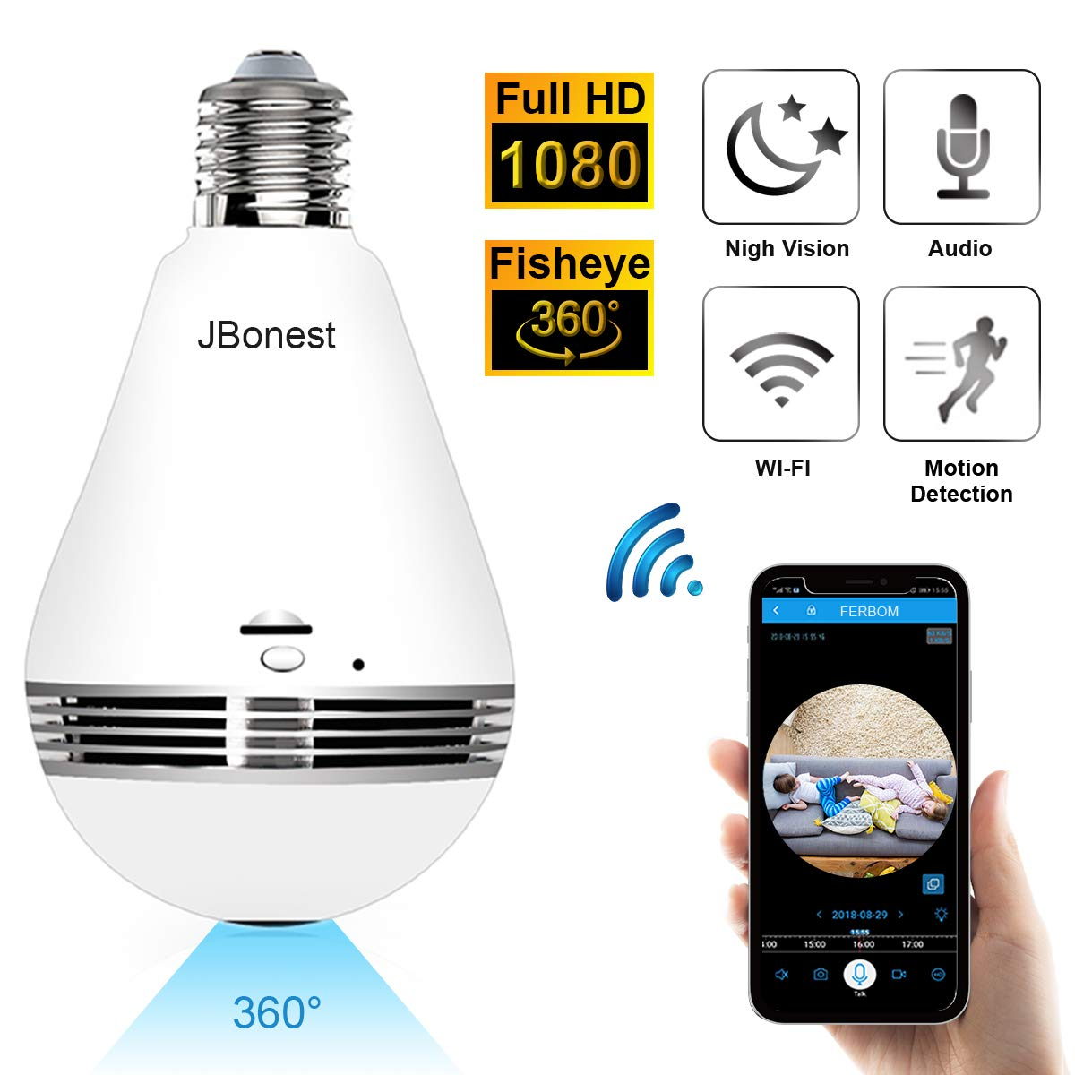 JBonest 1080P WiFi Camera Light Bulb Panoramic Camera with IR Motion Detection, Night Vision, Two-Way Audio, Cloud Service for Home, Office, Baby, Pet Monitor by JBonest