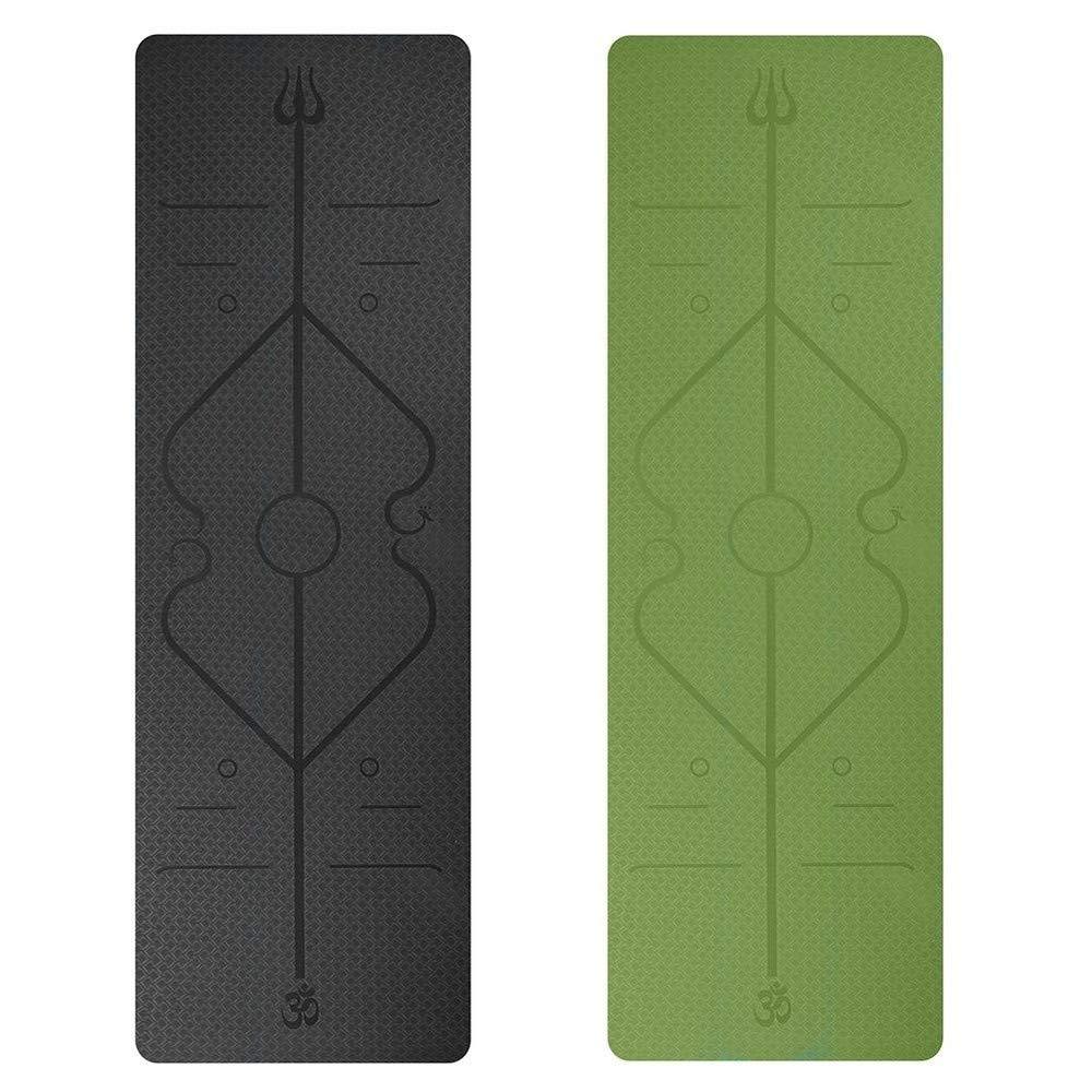 Sakj-c Ausrichtungshilfen Yoga-Matte Fitnessmatte Multifunktionale Umweltschutz-Yoga-Matte