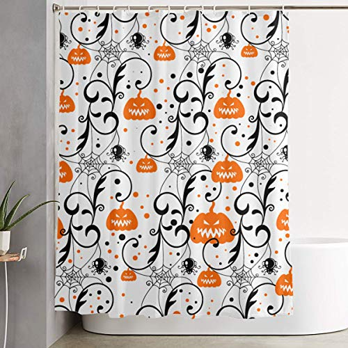 POP MKYTH Happy Halloween Party Pumpkin Shower Curtain Liner, 70x70 inches Waterproof Fabric Shower Curtains with Hooks, Bathroom Sets for Home/Hotel Decor