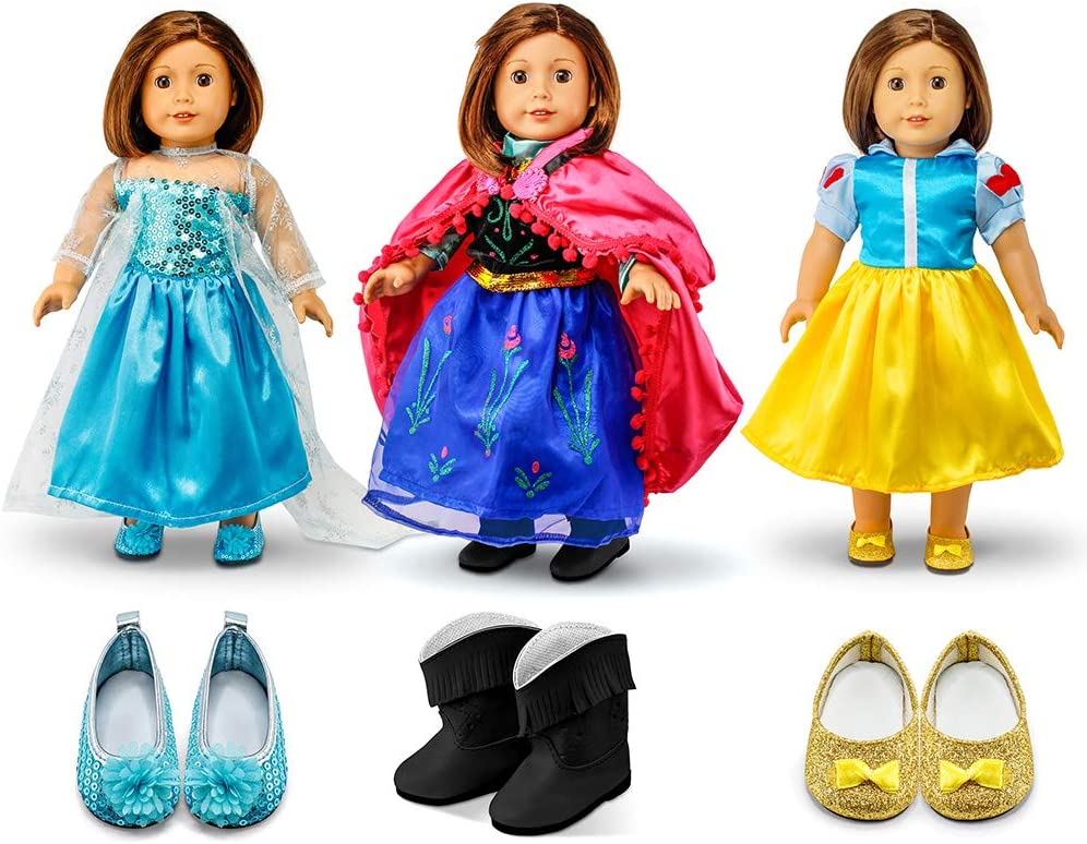 """Oct17 Fits Compatible with American Girl 18"""" Princess Dress 18 Inch Doll Clothes Accessories Costume Outfit 3 Sets"""