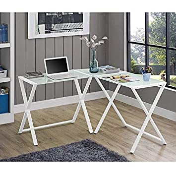 we furniture elite soreno glass corner computer desk white