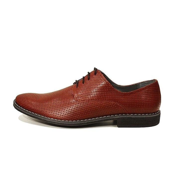 Modello Domenico - 43 EU - Cuero Italiano Hecho A Mano Hombre Piel Rojo Zapatos Vestir Oxfords - Cuero Cuero Repujado - Encaje xnccT4KD