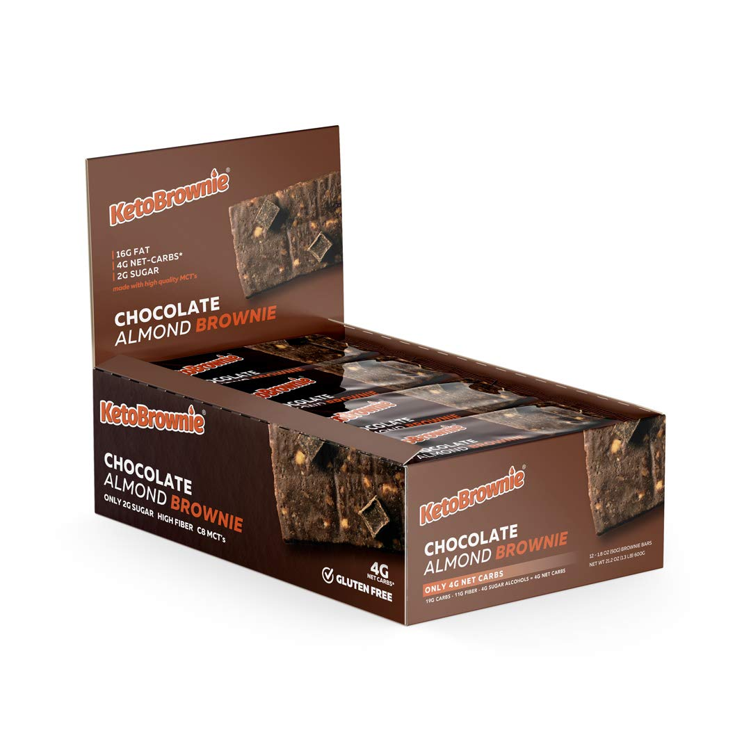 KetoBrownie Chocolate Almond Keto Brownies (12-Count) | Deliciously Baked Soft & Chewy | Brain Boosting C8 MCTs | 16g Healthy Fats | 4g Net-Carb Keto Bars | 2g Sugar | KetoLow-CarbDiabetic Friendly by KetoBrownie