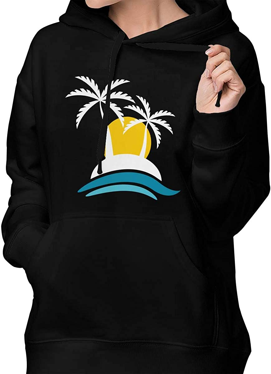Womens Pullover Hoodie Hooded with Pockets Tropical Iceland with Sunset and Palm Trees