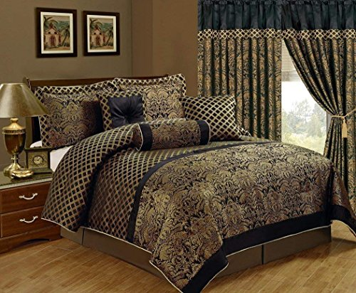 Comforter Gold 7 Piece Queen (Chezmoi Collection Lisbon 7-Piece Jacquard Floral Comforter Set, Queen, Black/Gold)