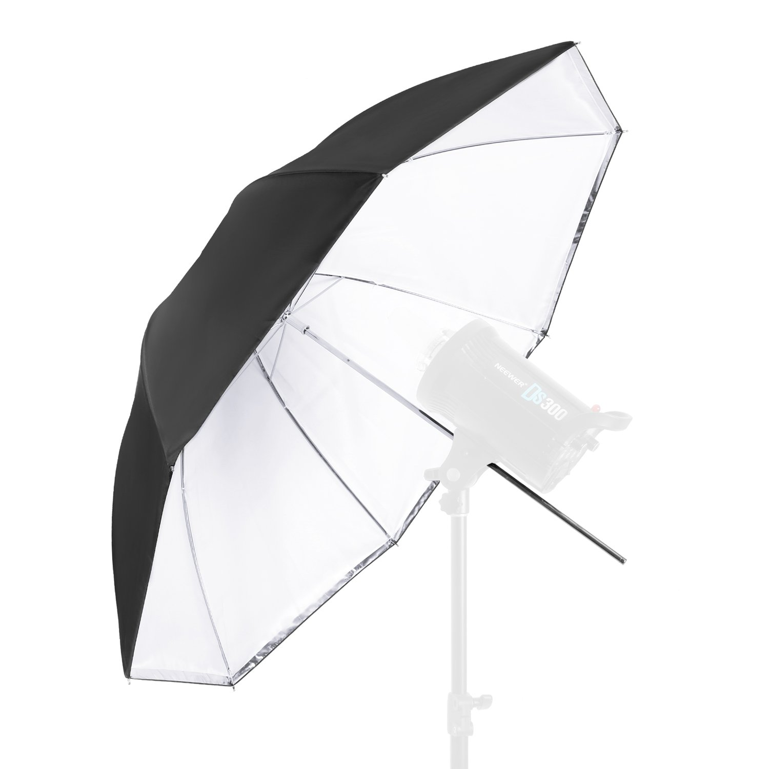 Neewer 59 inches/150 Centimeters Detachable Photography Lighting Umbrella - White Convertible Umbrella with Removable Black Cover and Reflective Silver Backing 10088119