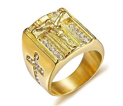 Vnox Hommes en Acier Inoxydable Cristal Chrétien Saint Jésus Croix De  Mariage Bague Signet Or d1134f56a3e6