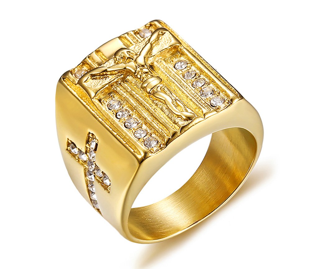 PJ Jewelry Mens Gold Plated Stainless Steel Crucifix Christian Jesus Cross Ring Symmetrical Inlay CZ Band,Size 8