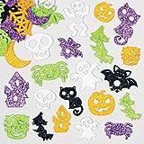 Lot de 120 autocollants pailletés en mousse - motif d'Halloween