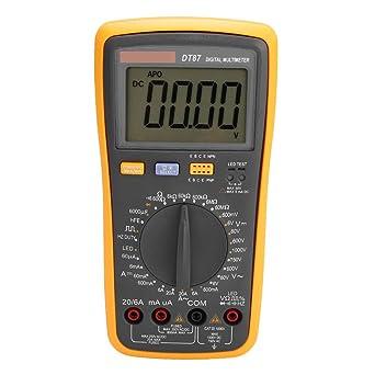 Multímetro Digital Multimetro Profesional Con Gran Pantalla Lcd Y Cable De Prueba Para Medir Voltaje Ac Dc Corriente Ac Dc Amazon Es Industria Empresas Y Ciencia