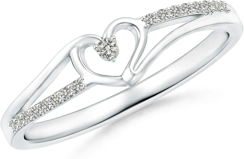 Round Diamond Split Shank Heart Promise Ring for Her (0.08 Cttw, Color:K, Clarity:I3)