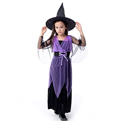 5bba9a30da42f (YAMSSY) コスチューム 魔女 帽子 吸血鬼 子供 用 キッズ 女の子 ハロウィン ワンピ ワンピース ロング 仮装