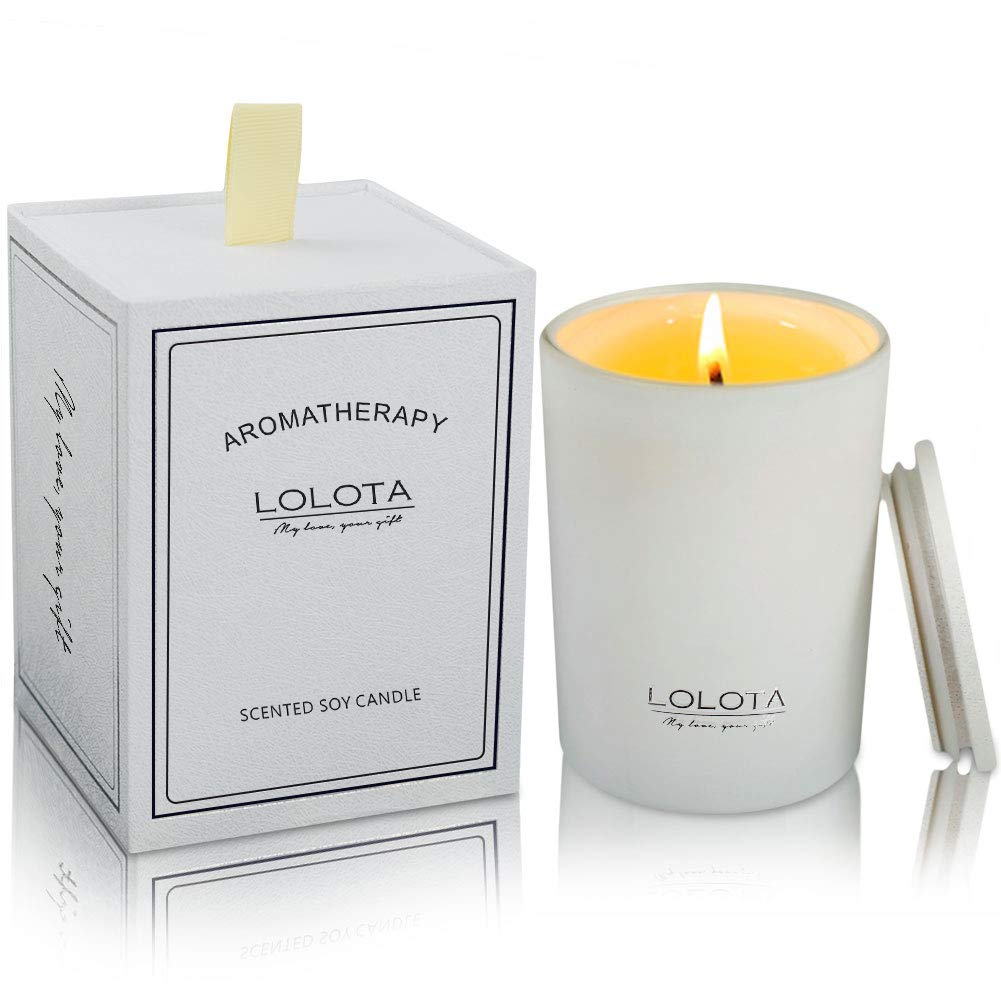 LALATA Clementine Mandarin Citrus Scented Candle Gift Soy Wax Aromatherapy Set of Fragrance Soy Candle 9.5 OZ-270g 55 Hours Burn Fine Home Fragrance Gifts Candle for Stress Relief and Relaxation by LALATA
