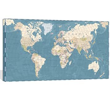 Visual Art Decor XLarge Blue Vintage World Map Canvas Prints Push Pin  Travel Routes Atlas Framed and Stretched Map Wall Art Decor for Travel Pin  Marks ...