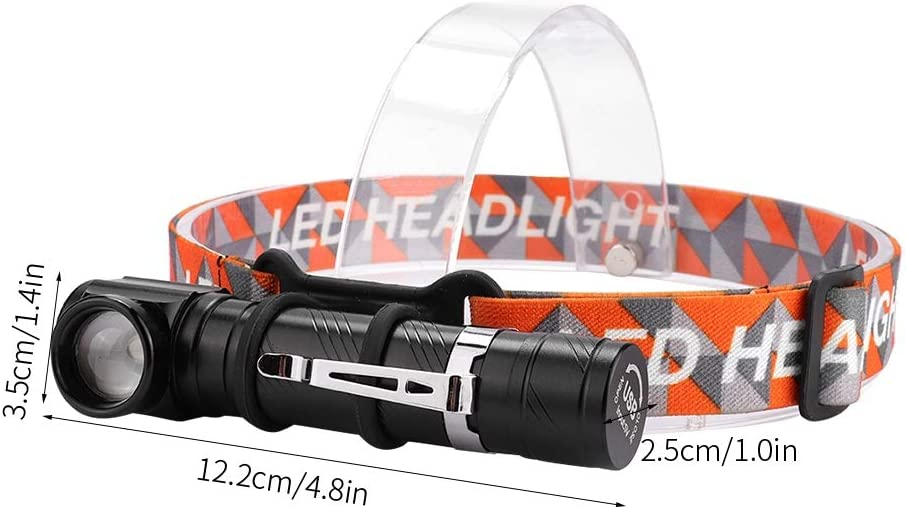 Headlight Flashlight Lightweight Riuty USB Rechargeable Headlamp Waterproof and Dustproof Headlight Great as Camping and Hiking Gear Durable