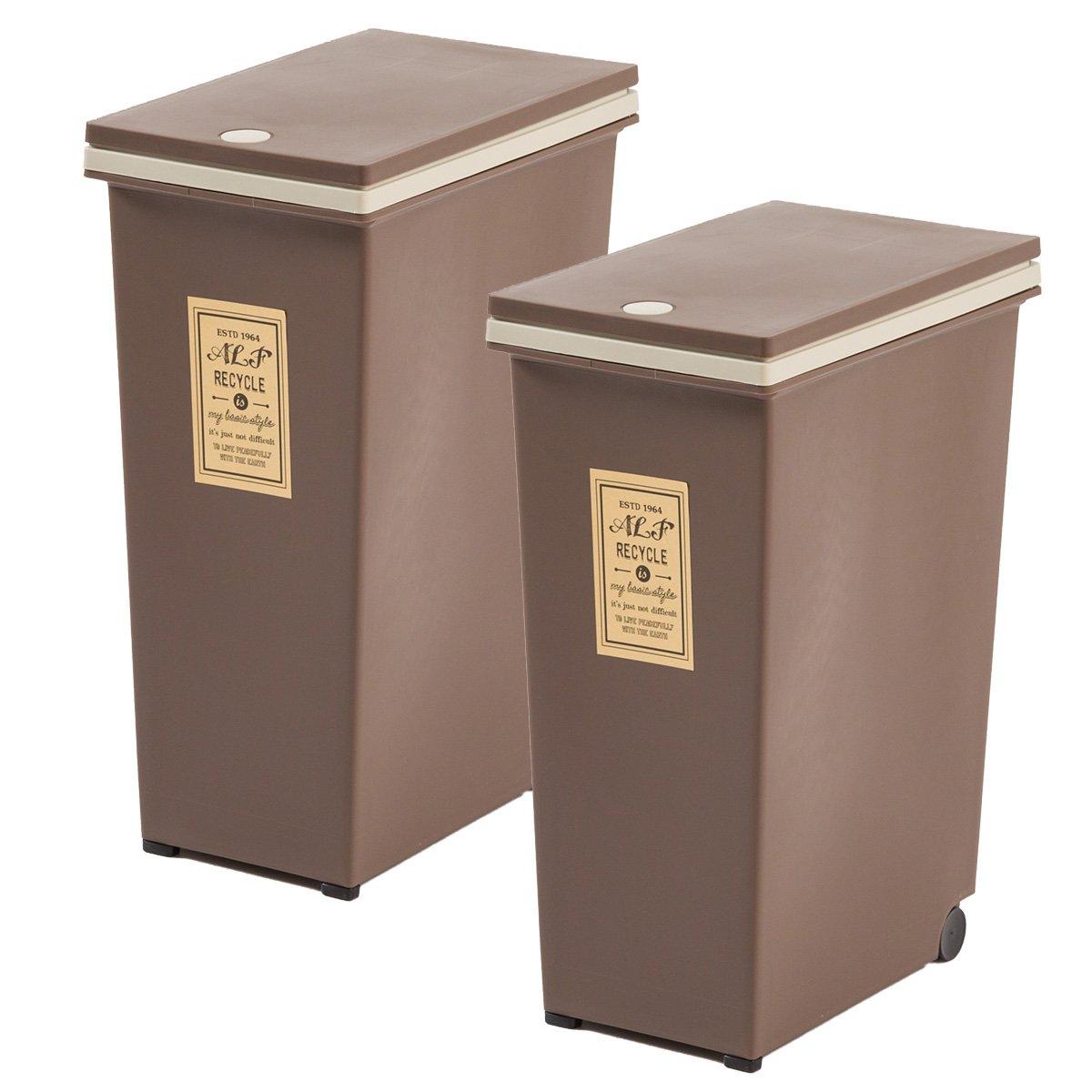 【一気にオシャレ感アップ!中の袋が見えないダストボックス 45L×2個(お得な同色セット)】 便利な移動キャスター付き ワンプッシュ開閉ふた(取り外し可能) 2個セットで4分別可能ごみ箱 (ブラウン色) B076VDMRGN ブラウン ブラウン