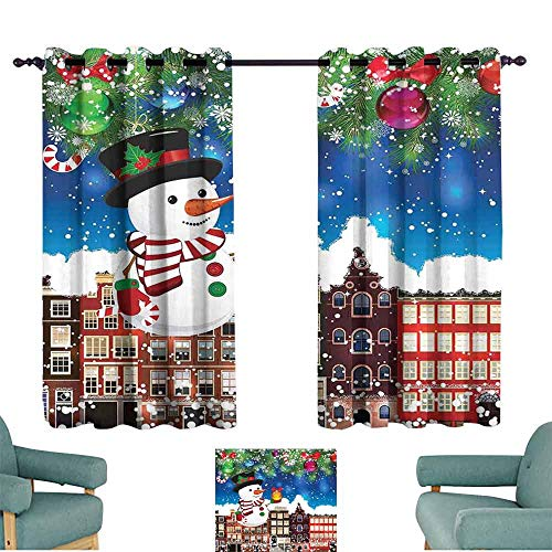 HCCJLCKS Kids Room Curtains Christmas Snowman in The City Streets Urban Style Noel Downtown Wishes Ritual Funny Illustration Blackout Draperies for Bedroom Living Room W63 xL63 Multi