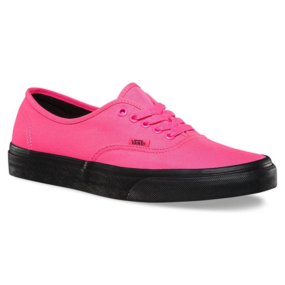Vans Authentic Black Outsole Fashion Sneakers,Neon Pink/Black, 5.5 Men/7 Women