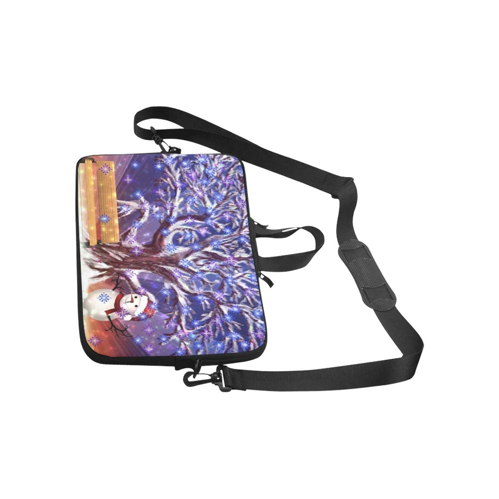 Big Snowy Tree Bench Snowman Briefcase Laptop Bag Messenger Shoulder Work Bag Crossbody Handbag for Business Travelling