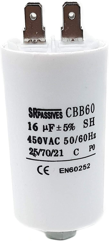 Condensador de Motor Blanco Mondo Universal SR pasivo CBB60 16 /μF 450 V