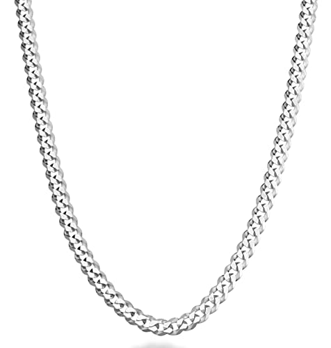 8491d4b7f MiaBella Solid 925 Sterling Silver Italian 5mm Diamond Cut Cuban Link Curb  Chain Necklace for Women