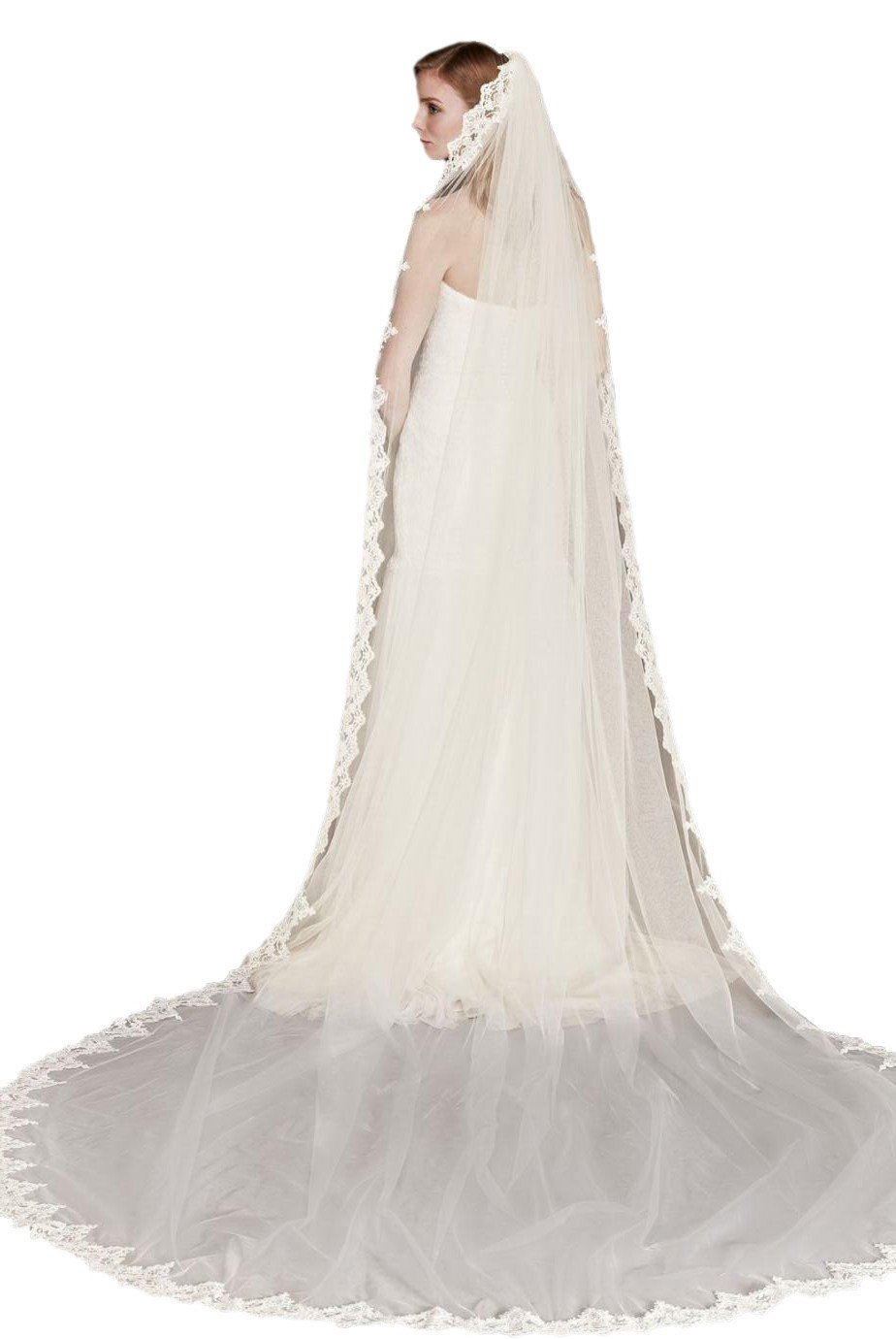 Passat Pale Ivory Single-Tier 3M Corded Lace Cathedral Veil with Scalloped Edge DB2