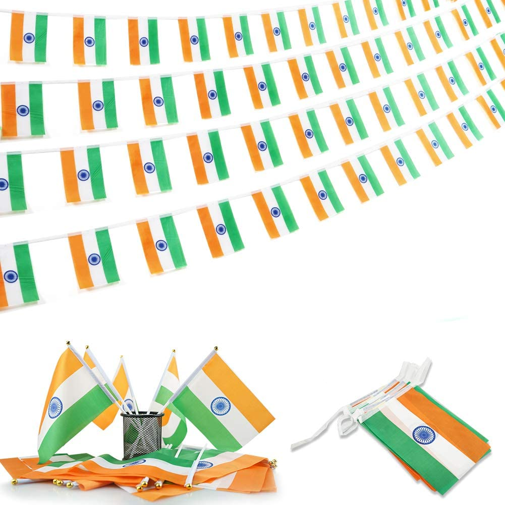 Cleverwolf India String Flag and Stick Flag Set, 100 Feet with 76 Pennant Banners 20 Pack India Stick Flags Perfect for Outdoor,Garden,Sports Event