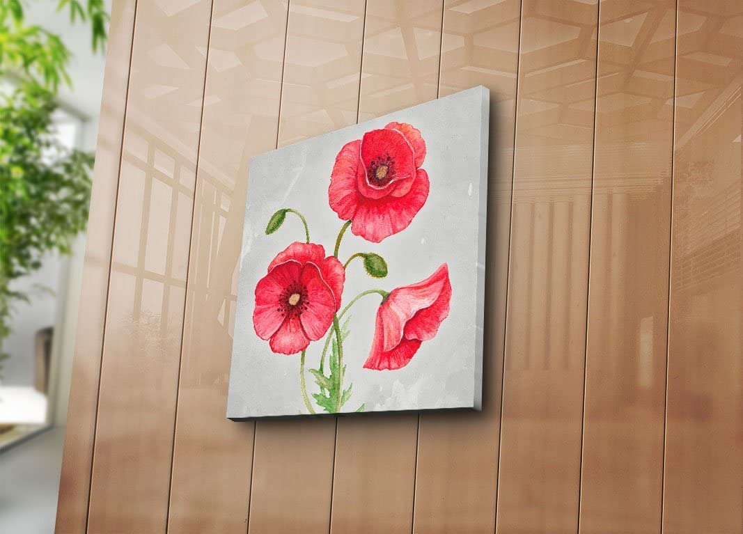 """LaModaHome Nature Canvas Wall Art, 3 Red Poppy Flowers, Wooden Thick Frame Painting, Total Size (17.5"""" x 17.5"""") - Wall Hanging for Living Room, Bedroom, Dorm"""