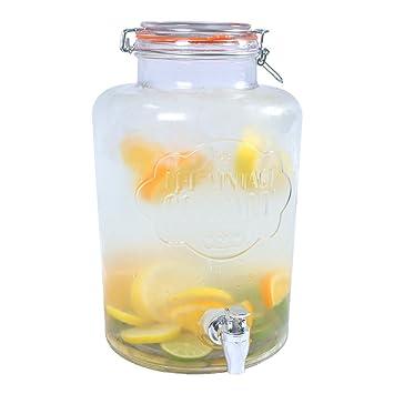 El Vintage Empresa 7,6 L 22 X 22 X 35 cm Jumbo dispensador de Bebidas de Cristal con Cierre hermético y Grifo: Amazon.es: Hogar