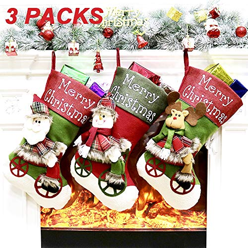 LYLYFAN Christmas Stocking 18'' Big Xmas Stockings Set of 3 Christmas Character Santa Snowman Reindeer 3D Plush Stocking for Xmas Tree Decorations (The Best Christmas Stockings)