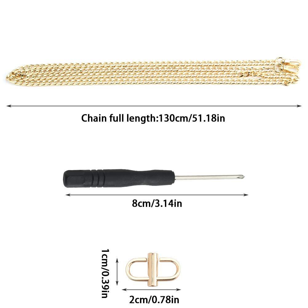 130cm Sangle Remplacement Cha/îne de Sac avec 1 x Boucle de R/églage de la M/ême Couleur et 1 x Tournevis Argent INSOUR Chaine pour Sac a Main