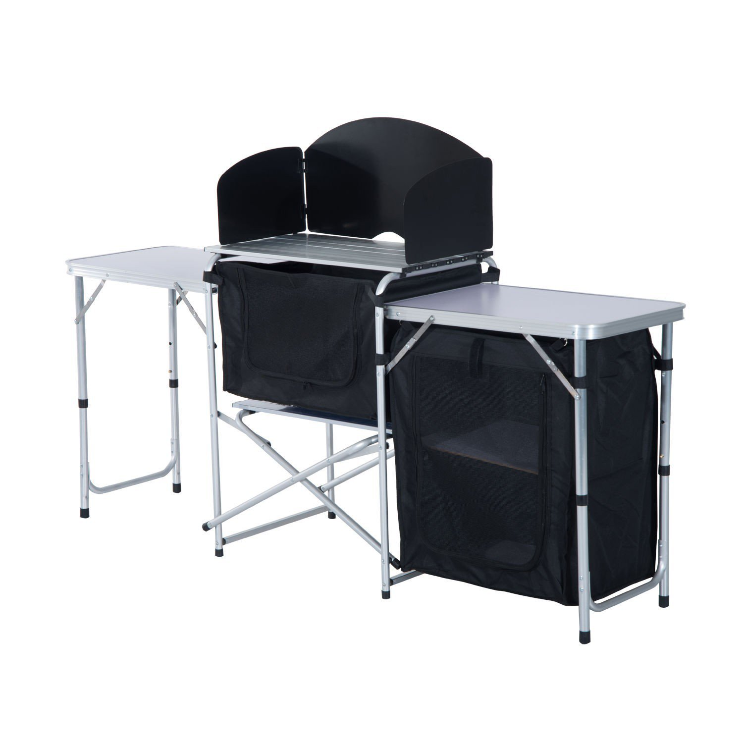 Portable 6' Fold-Up Camping Kitchen Table w/Windscreen Backyard Party With Ebook