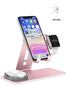 Apple Watch Stand, OMOTON AirPods Stand, 3 in 1 Adjustable Aluminum Charging Station Desktop Holder for AirPods 1/2/ Pro, Apple Watch 5/4/3/2/1, iPhone SE/11 and Other Devices(4-10.5 inch), Rose Gold