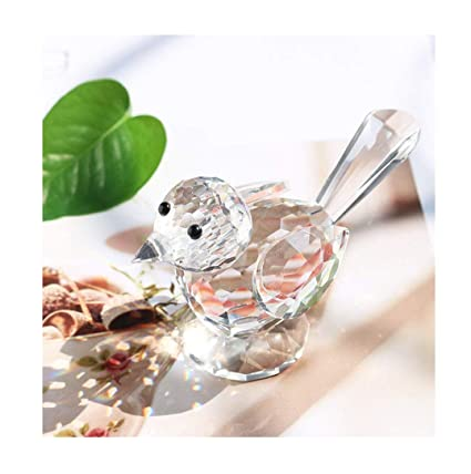 H&D Crystal Bird of Happiness Collectible Figurines Glass Animal Figurine  for Table Home Decoration