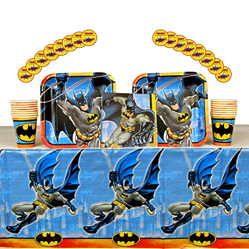 Batman Party Supplies Pack for 16 Guests | Stickers, 16 Dinner Plates, 16 Luncheon Napkins, 16 Cups, and Table Cover | Perfect For Kids Birthday Parties | Great For Your Little Crime Fighters Party]()