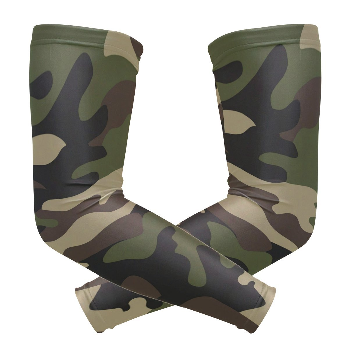 Wamika Arm Sleeve for Men Women Camouflage Green Forest UV Protection Cooling Long Sports Compression Arms Cover Tattoo Sleeves Perfect for Baseball Football Basketball Running 1 Pair