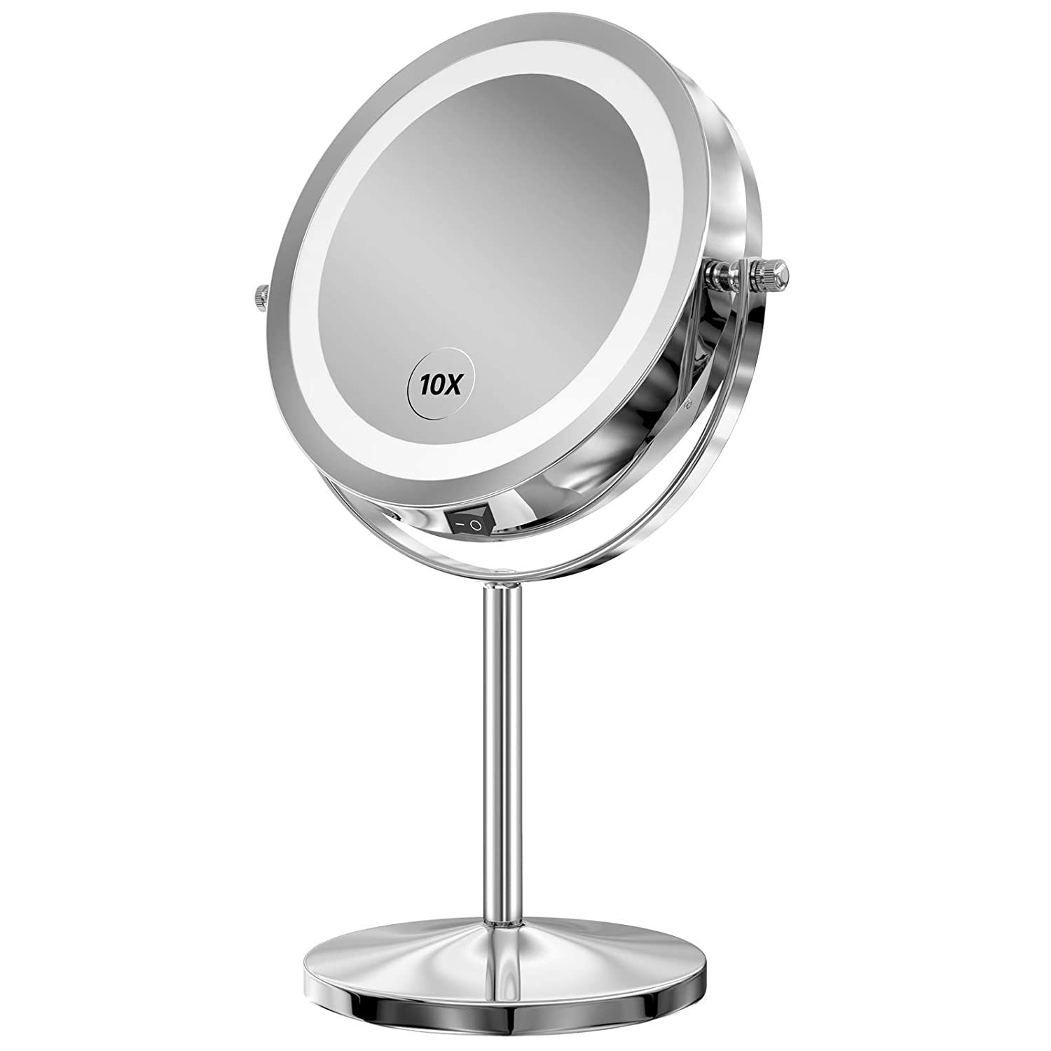 Lighted Makeup Mirror 7 Inch Led Vanity Swivel Mirror 1x 10x Magnifying Double Sided Mirror With Stand Battery Operated Beauty