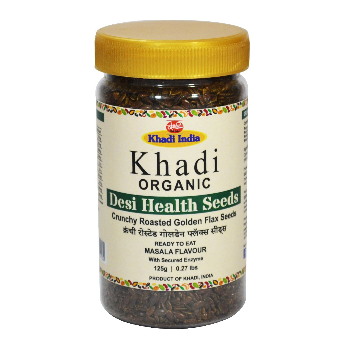 Khadi Organic Roasted Crunchy Golden Masala Flax Seeds 125 GM - 100% Natural, Gluten-Free, High-Fibre, Healthy Organic Food Rich in Proteins, Vitamins, Minerals