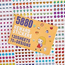5880 Kids Reward Stickers , Incentive Stickers for Teachers, 12 Pack,120 Sheets in Total, Over 70 Unique Designs Including Heart, face, Star, owl, Cupcake Stickers