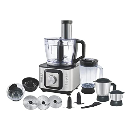 Inalsa Food Processor INOX 1000-Watt With Blender Jar / 304 Grade SS Dry Grinding / Chutney Jar / 7 Accessories | 2 Yr Warranty on Motor |Centrifugal/ Citrus Juicer | (Black/Silver)