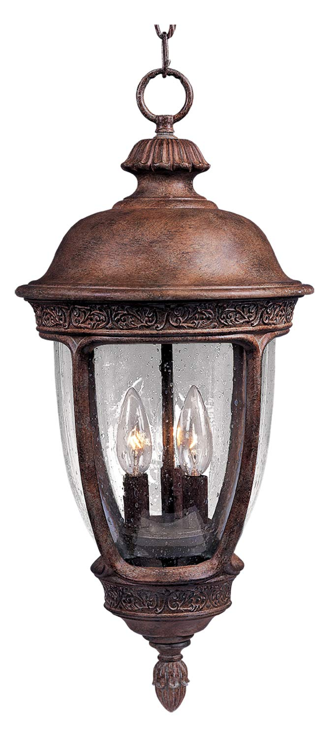 Three Light Sienna Seedy Glass Hanging Lantern