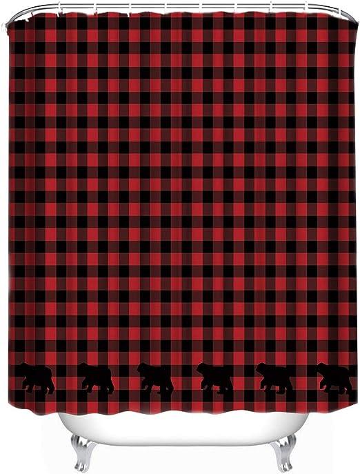 """Custom Buffalo Check Bear Applique Shower Curtain 66/"""" X 72/"""" Bathroom Decor 72X72"""