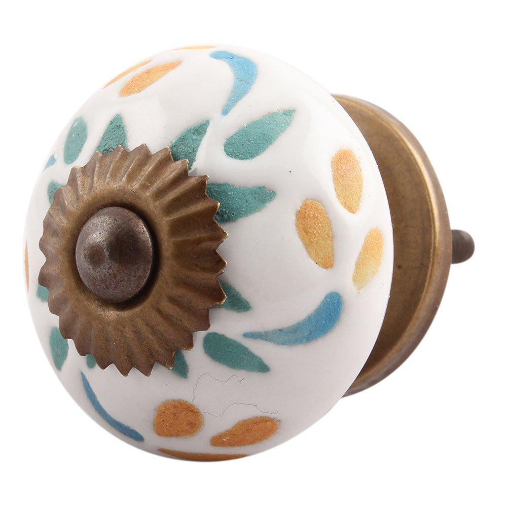 IndianShelf Handmade 2 Piece Ceramic Multicolor Leaf Etched Decorative Dresser Knobs/Cabinet Pulls