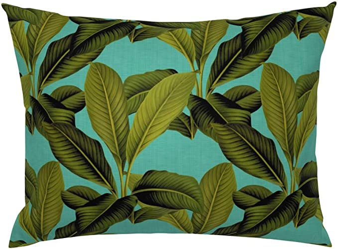 Tablecloth Tropical Leaves Jungle Palm Turquoise Botanical Banana Cotton Sateen