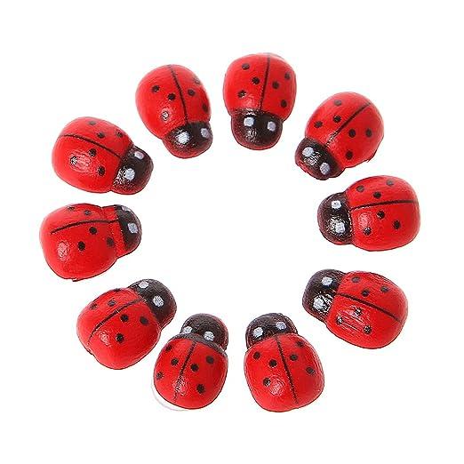 Huyiko - Lote de 10 minifiguras de mariquita roja con mariquita ...