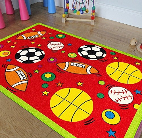 All Star Sports Design Area Rug, Graphic Basketball Baseball Soccer Football Themed, Rectangle Indoor Hallway Doorway Living Area Bedroom Cabin Carpet, Modern Kids Design, Red, Green Size 4'11 x 6'11 by S & E